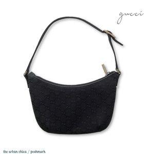 GUCCI Black GG Monogram Mini Shoulder Bag Purse